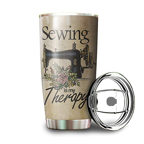 Sewing Is My Therapy Knowledge Stainless Steel Vintage Tumbler Mug White Coffee Mug Tumbler Cup 20oz