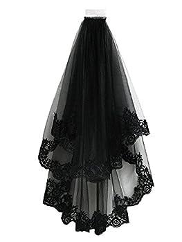 TOPJIN Classic Lolita Style Black Cathedral Halloween Party Wedding Bridal Veil 8060cm 80cmx60cm