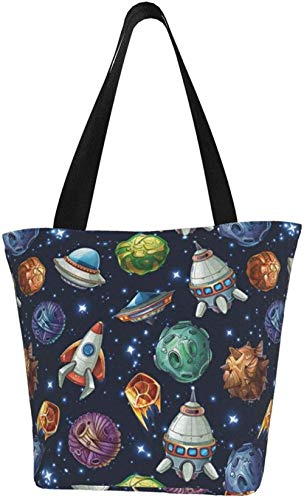 Canvas Tote Bags for Women with Zip,Cartoon Planets Spaceships Stars Galaxy Handbags Shoulder,Big Capacity Shopping Bag,College Bookbag for Girls,Printed Travel Beach Hobo Bags for Ladies