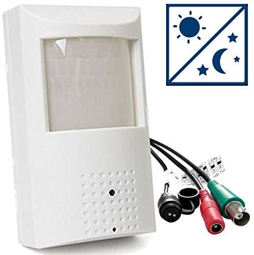Ventech - Cámara de Seguridad para el hogar (1000 tvl, 48 ledes Infrarrojos, visión Nocturna, 3,6 mm, Gran Angular, Detector de Movimiento, cámara de vídeo PIR, tamaño pequeño)