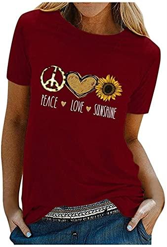 Camiseta de girasol para mujer, delgada, de manga corta, cuello redondo, blusa de verano, túnicas