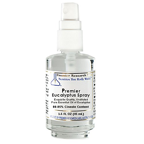 Premier Eucalyptus Spray, 1.7 fl oz Glass Spray Bottle - Exquisite Quality, Undiluted, Pure Essential Oil of Eucalyptus 80-85% Cineole Content