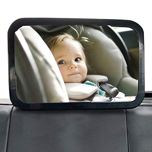 Carroo Baby Safety Mirror, Shatterproof Acrylic Glass Mirror with Black Frame, 360° Adjustable Rear View Mirror, Safely Observe Kids When Driving, Suitable for Cars, Trucks and SUVs, Keep Child Safe