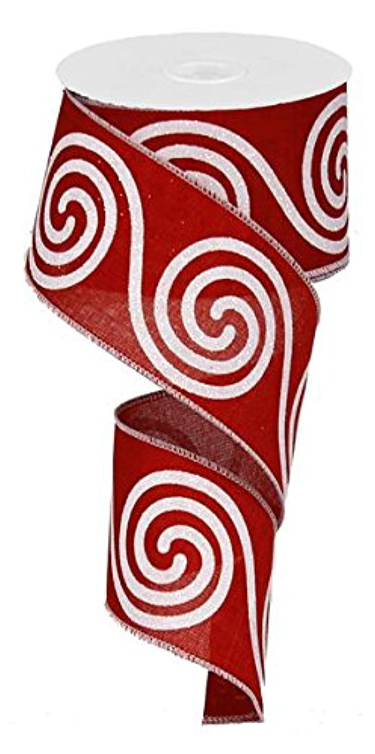 Woven Red Glitter Large Swirl Ribbon: Red & White 2.5
