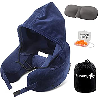 Neck Pillow Inflatable Travel Pillow Comfortably Supports The Head Neck and Chin Airplane Pillow with Soft Velour Cover Hat Portable Drawstring Bag 3D Eye Mask and Earplugs  Blue