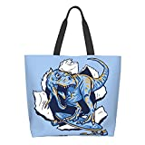 AuHomea Monopatín dinosaurio lona bolsa de gran capacidad mujeres casual bolsa de hombro reutilizable compras bolsas de comestibles bolso para viajes