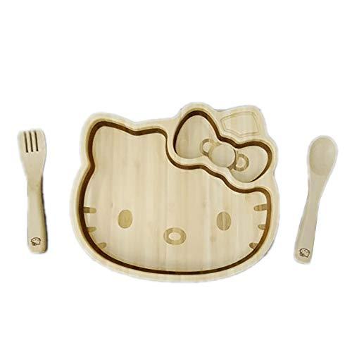 FUNFAM Hello Kitty KITTY-001 Set d'assiettes en bambou