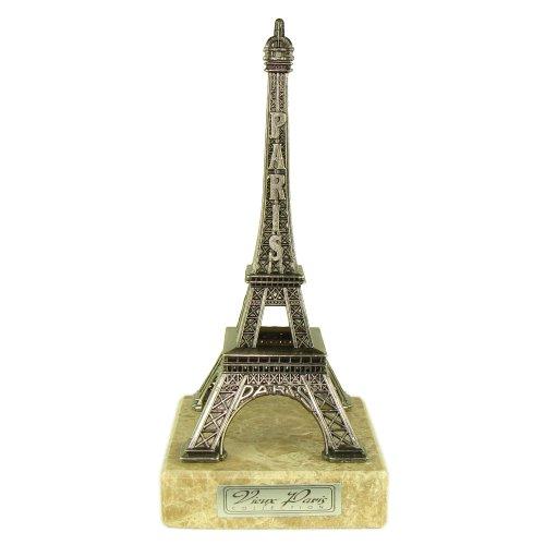 Souvenirs de France - Tour Eiffel Miniature Métal sur Marbre - Couleur : Argent (18.5 cm)
