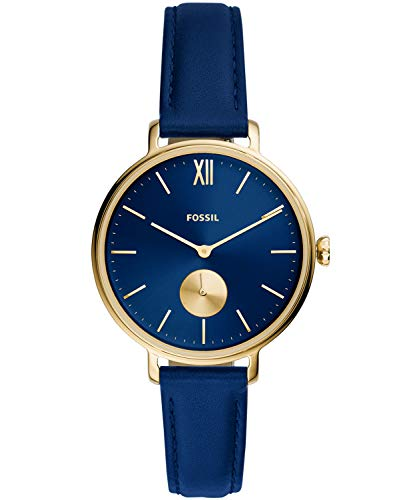 Fossil Women's Kalya Stainless Steel Quartz Watch with Leather Strap, Blue, 14 (Model: ES5042)