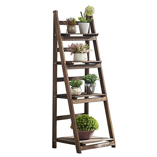 RHF 45' Foldable Ladder Shelf,Plant Stand,Indoor Flower Pot Stand,Flower Pot Ladder,Folding A Framde Display Shelf,Free Standing, Patio Rustic Wood Stand with Shelves,4 Tier Stand Outdoor,Pot Rack