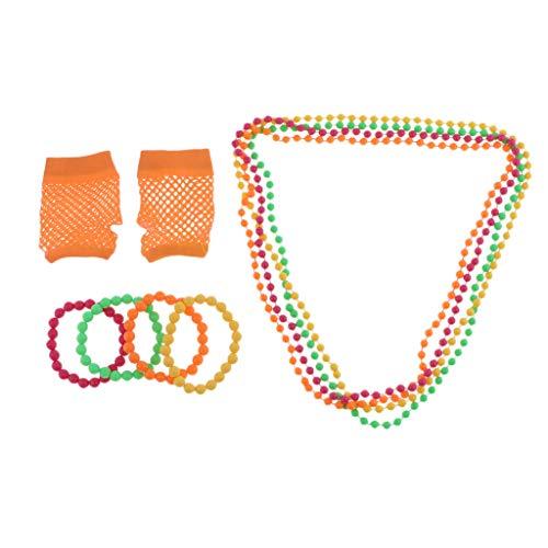 lahomia 80s Necklaces Bracelets Mesh Gloves Neon Party Costume - Orange, 80cm