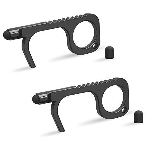 No Touch Door Opener Tool with Stylus - (2 PACK) Touchless Keychain Hand Tool Button Pusher Black