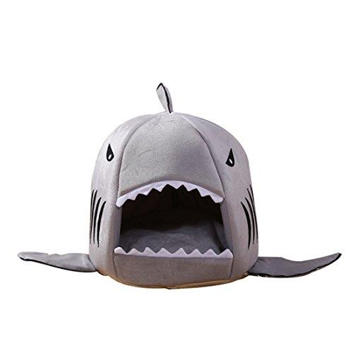 1ps Niche Maison en Forme Requin Lits Chaud Pour Chiot Chat Gris M