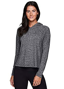 RBX Active Women s Fashion Athletic Relaxed Fit Cropped Long Sleeve Peached Ultra Soft Crewneck Hoodie T-Shirt Hooded Heather Black L