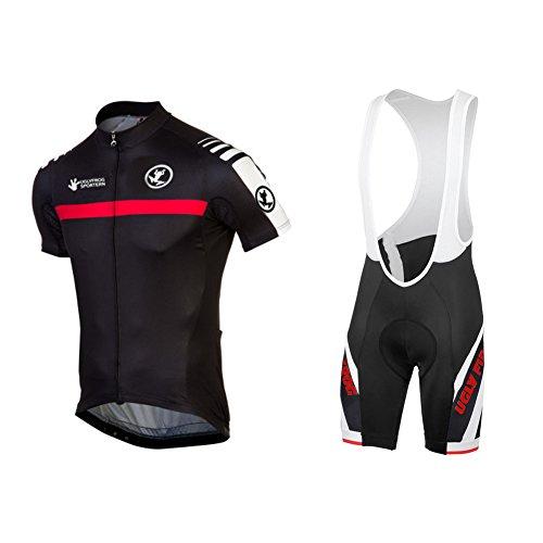 UGLY FROG Uglyfrog Herren Radtrikot Atmungsaktive Fahrradbekleidung Set Trikot Kurzarm + Radhose mit Sitzpolster für Radsport