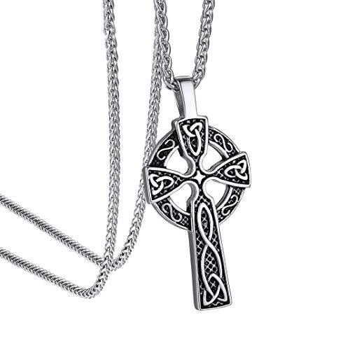 GoldChic Jewellery Cruz Celta Colgante Collar de Acero para Mujer Hombre