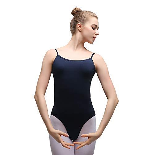 Bezioner Maillot de Danza Gimnasia Leotardo Clásico Body de Ballet para Mujer Navy XXL