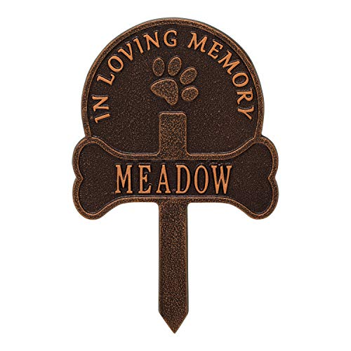 Whitehall Personalized Pet Memorial Yard Sign - Custom Cast Aluminum Dog Paw and Bone Remembrance Cross Garden Stake, Grave Marker - Antique Copper