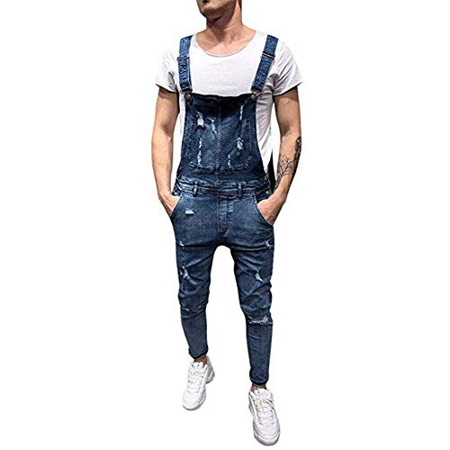 Xinvivion Herren Denim Overalls Lässige Hosen Retro Jeanslatzhose Latzhosen Männer Jeans Jumpsuits