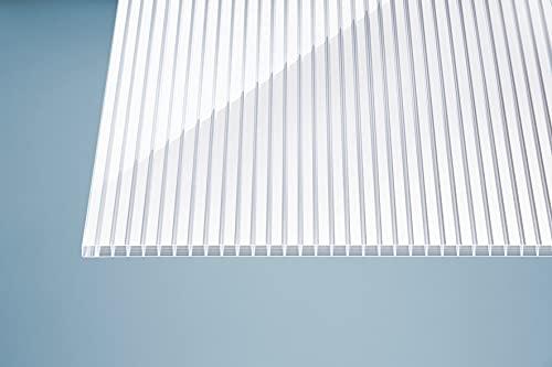 Plancha alveolar de policarbonato (16 mm, 980 x 4000 mm), diseño de rayas, transparente