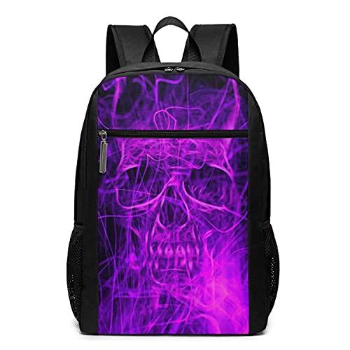Backpack,Mochila Escolar con Calavera De Fuego Púrpura Digital De Disipación De Calor, Bolsa De Herramientas Premium para Herramientas Collegem Outdoor,30cm(W) x46cm(H)