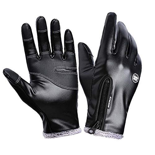 Badry Wintermode Herren Lederhandschuhe Schwarz Touchscreen Handschuhe Herrenmode Winterhandschuhe Mittensblack S