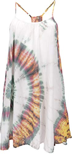 GURU SHOP Batik Minikleid, Tunika Hippie Chic, Strandkleid, Sommerkleid, Damen, Weiß, Synthetisch, Size:42, Kurze Kleider Alternative Bekleidung