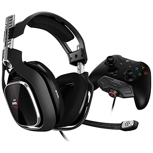 ASTRO Gaming A40 TR Gaming-Headset, MixAmp M80 Adapter, 4. Generation, 7.1 Dolby Surround Sound, Audio V2, Austauschbares Mikrofon, Lautsprecher-Tags, Mod-Kit Kompatibel, Xbox One/PC/Mac - schwarz/rot