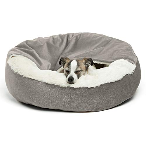 Best Friends by Sheri Cozy Cuddler Luxury Orthopedic Dog and Cat Bed with Hooded Blanket for Warmth and Security - Machine Washable, Water/Dirt Resistant Base - Standard Grey Ilan