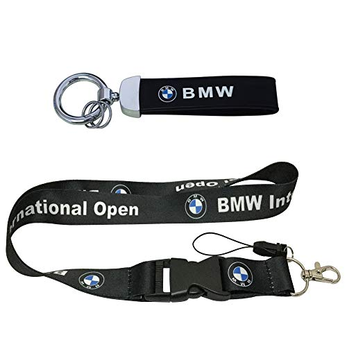 Smooth Silk Lanyard & PU Leather Key Chain Wristlet Tag Keyring for Automotive Car, SUV, Truck, Motorcycle, Scooter, ATV, UTV, RV, House Keys, Office ID, Accessories Gift (B.MW Black)
