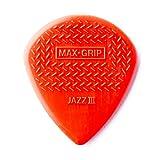 Dunlop 471P3N Max Grip Jazz III Nylon Guitar Picks, Red, 6-Pack