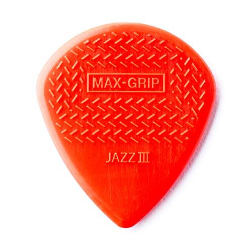 Palheta de guitarra Dunlop 471P3N Max Grip Jazz III, vermelho, pacote com 6