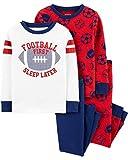 Carter's Boy's 4-Piece Snug Fit Cotton PJs (Football, 3T)