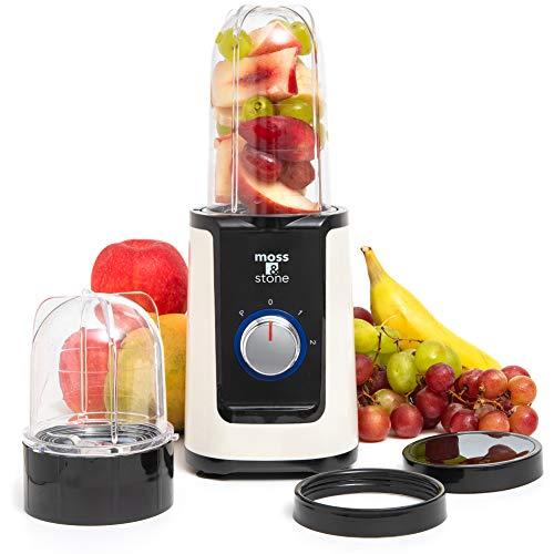 2 in 1 Personal Blender with additional Blender Cups, Smoothie Bullet Blender Maker for Frozen Fruit, Baby Food, Spices (White & Black)