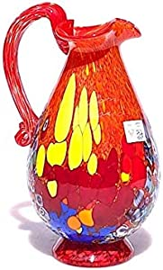Jarra de cristal de Murano, jarra de vidrio soplado, vidrio rojo, jarra con Murrine, creaciones hechas a mano, idea de regalo, marca de origen 100% garantizada, Pinot