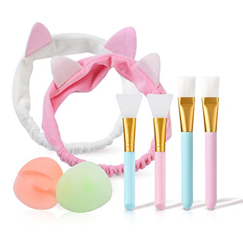 Maskenpinsel Silikon mit Haarbänd,Kozylife Gesichtsmask Pinsel Set,Maskenpinsel Gesicht Silikon,Gesichtsmaske Pinsel für Gesichtsmasken,Augenmasken oder DIY.