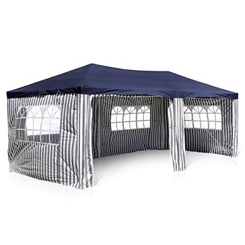 Nexos GM36077 PE-Pavillon Partyzelt mit 4 Seitenteilen und 2 Eingängen für Garten Terrasse Feier oder Fest als Unterstand Plane 110g/m² wasserdicht 3 x 6 m blau