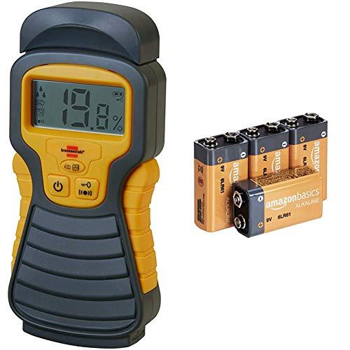 Brennenstuhl Feuchtigkeits-Detector MD (Feuchtigkeitsmessgerät/Feuchtigkeitsmesser für Holz oder Baustoffen, mit LCD-Display) anthrazit/gelb & Amazon Basics Everyday Alkalibatterien, 9V, 4 Stück