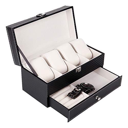 ShiftX4 4 cuadrículas de doble capa caja de reloj caso de fibra de carbono pu reloj joyería anillos pendientes exhibición almacenamiento titular organizador regalo lujo