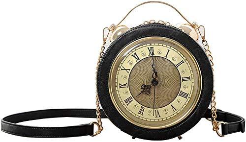 ZSW Bolso de Reloj Bolso de Mensajero Vintage de Trabajo Real Bolso de Estilo Steam Punk Bolso Bandolera Bolso de Hombro Bolso de Tiempo para IR de Compras-Negro