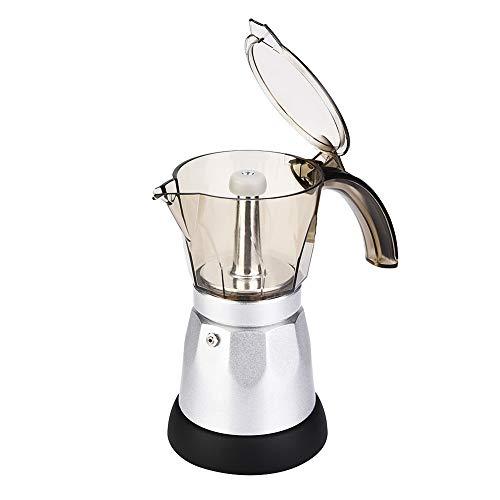 Elektrische moka-kan, grote capaciteit, elektrische moka-kan, kookplaat, espressomachine, koffiezetapparaat (EU-stekker) 300ml zilver