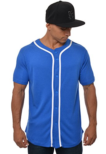 YoungLA Baseball Jersey Plain Shirts for Men Button Down Sports Tee Made w/Soft Cotton 304 Royal Blue - Small