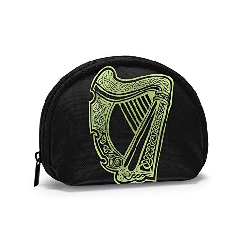 Celtic Harp Warrior Tattoos Semicircular Mini Zipper Wallet Coin Change Cash Purse Card Holder Bag