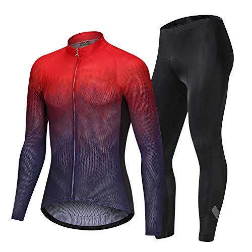 Heqianqian Fahrradtrikot Herren Set Professionelle Fahrradbekleidung mit atmungsaktivem Gel-Pad Farbverlauf Frauen Rennradbekleidung Sportanzug Radtrikot Rennradbekleidung (Größe: XL; Farbe: Rot)