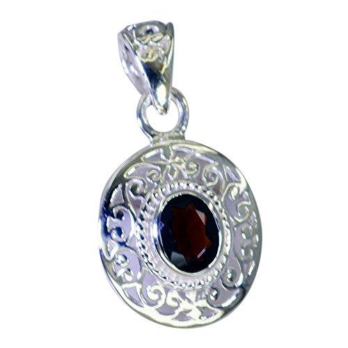 Gemsyogi Abalorio de plata de granate real para mujer, colgante de piedra de nacimiento de enero para curación de chakras, collar vintage