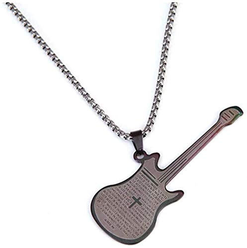 N-G Necklace Stainless Steel Jesus Religious The Bible Guitar Pendant Necklaces Musical Instruments Chain Jewelry