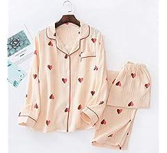 Conjuntos de Pijamas Frescos de Primavera y Verano para Mujer, algodón, corazón Lindo, Manga Larga, Ropa de Dormir cómoda y Casual, Pijamas de Mujer: Amazon.es: Ropa y accesorios