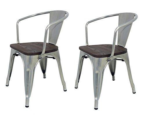 La Silla Española - Pack 2 Sillas estilo Tolix con respaldo, reposabrazos y asiento acabado en madera. Color Industrial. Medidas 73x53,5x52