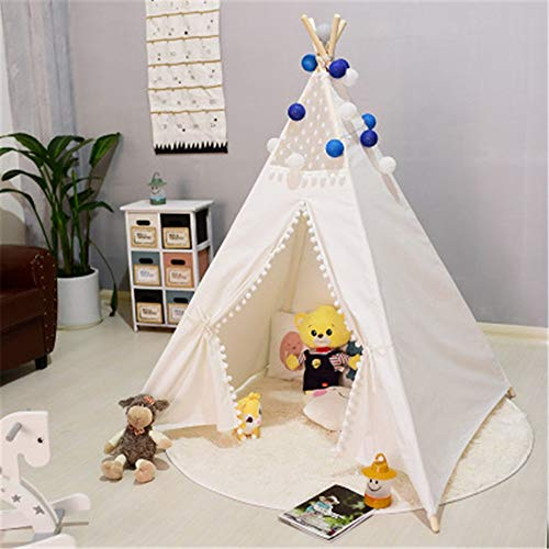 Tollmllom Kids Teepee Tent Indian Play Tent Lace and Pompom Design Foldable Cotton Canvas Tent Room Decoration Theater With Round Cushions Indoor Outdoor Play House (Color : C2, Size : As shown)