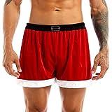 TiaoBug Men's Flannel Christmas Santa Claus Costume Holiday Boxer Shorts Red Medium